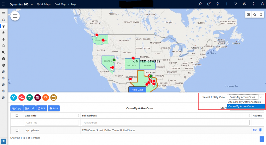 Select Entity to see data in grid view