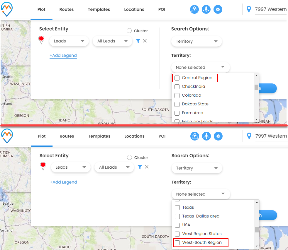 Search entity records by selecting Territory