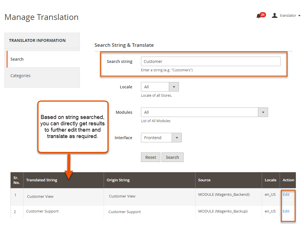 Search Strings and Translate
