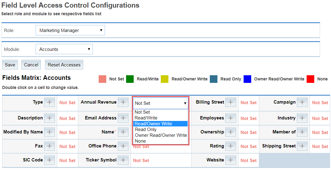 Choose the Access Rights for Desired Fields of Selected Module