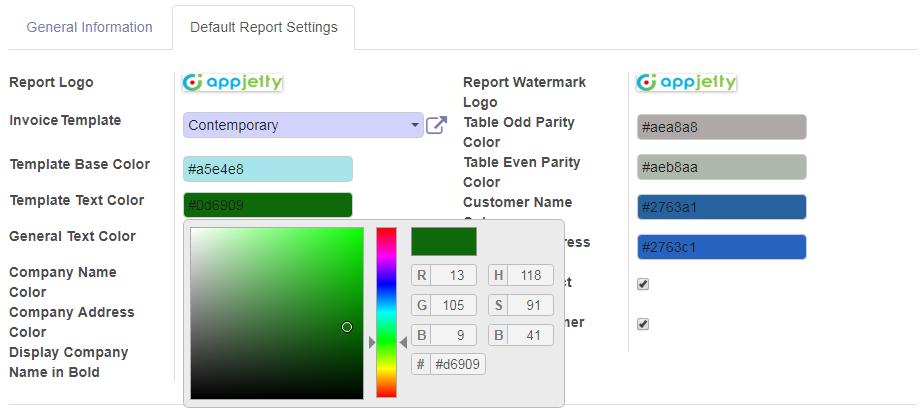 Set Default Report Settings
