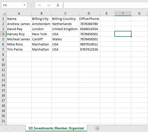 Data Export in Excel Format