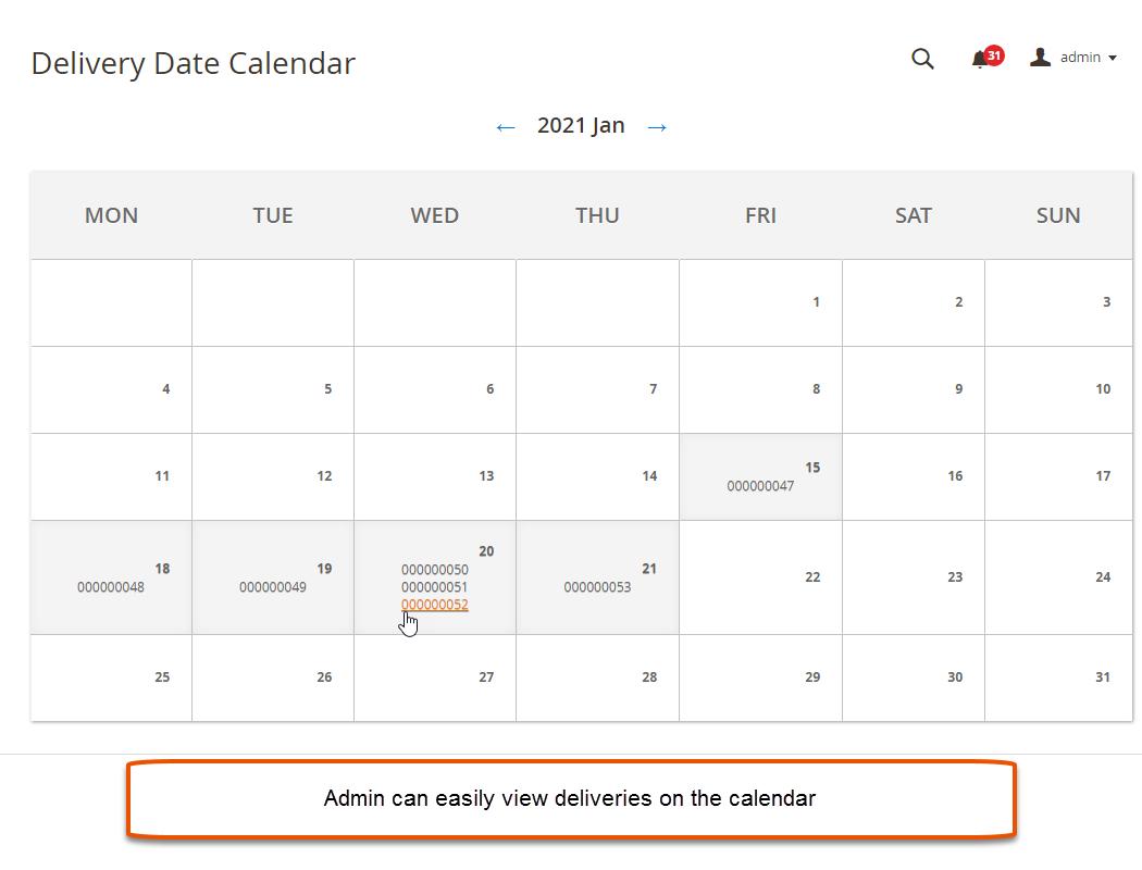 Delivery Calendar