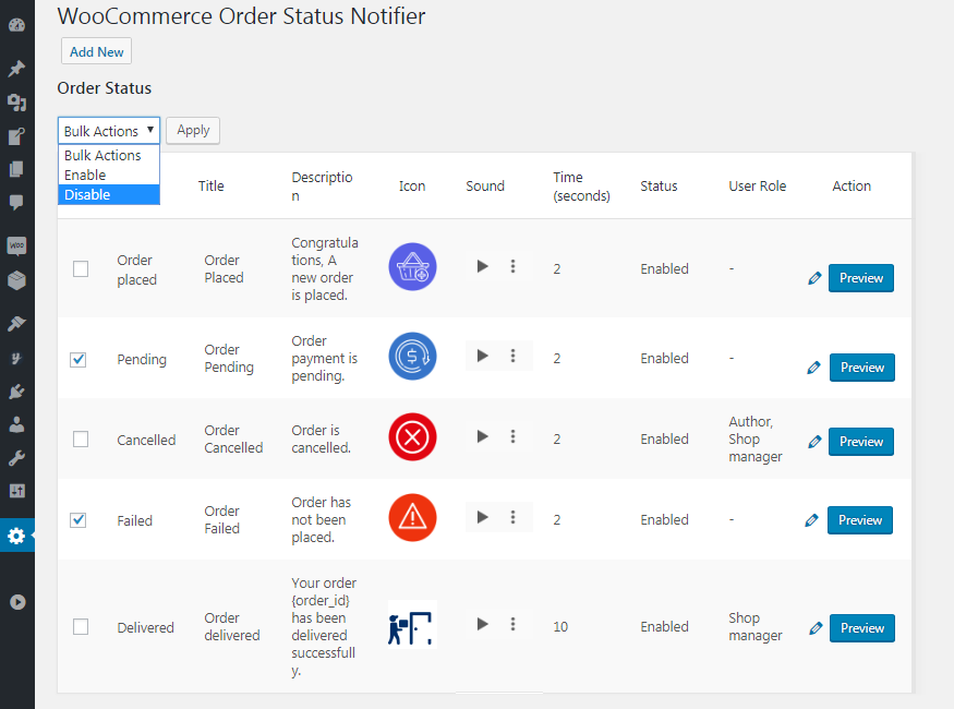 Enable Disable Order Status