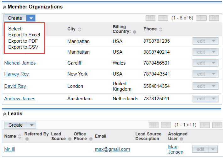 Export SubPanel Data