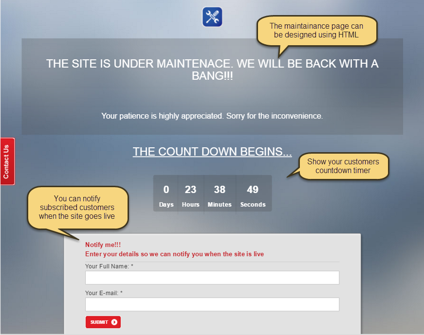 Magento 2 Easy Site Maintenance Extension