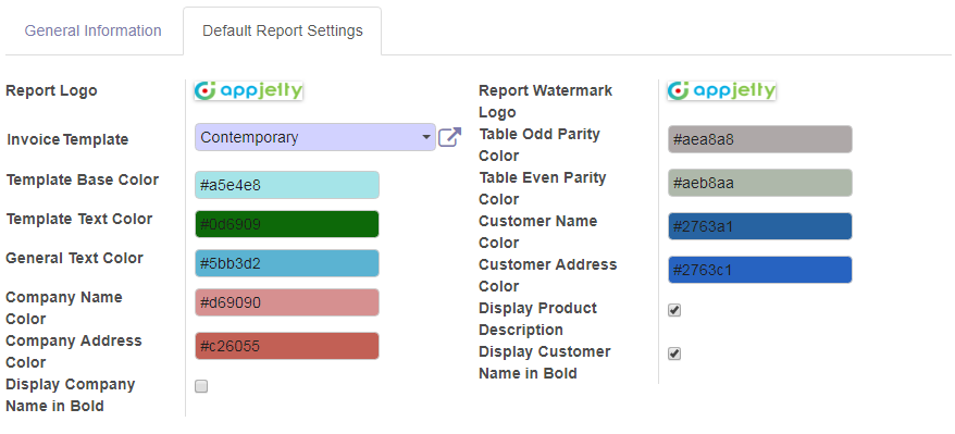 Manage Default Report Settings