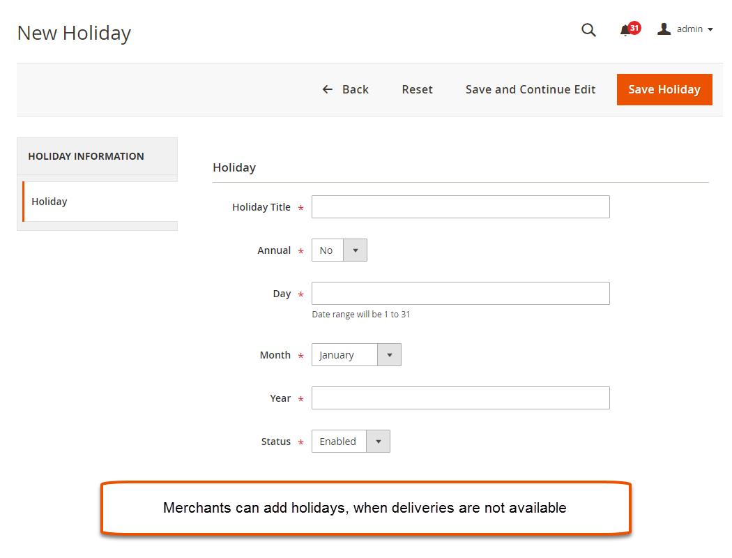 Manage Holidays