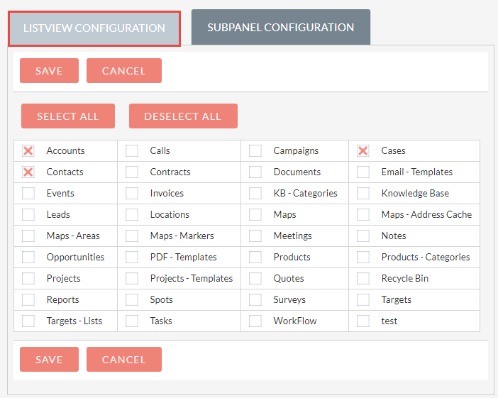 Manage ListView Modules Configuration for  Export