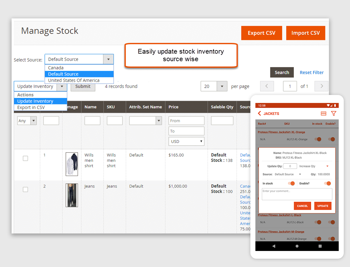 Manage Product Stock
