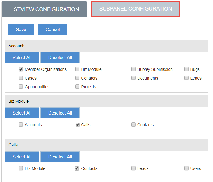 Manage SubPanel Modules Configuration for Export