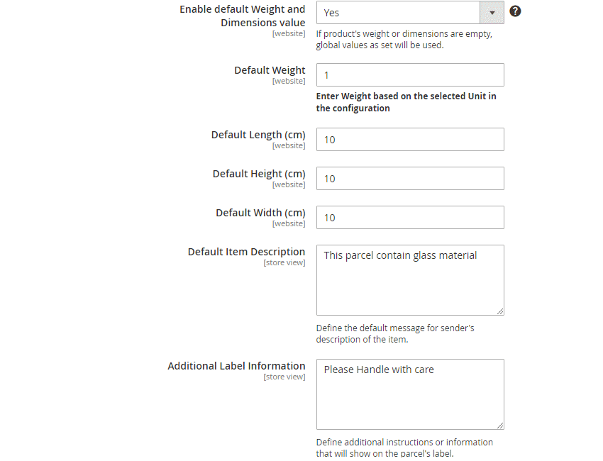 Order Shipping Configuration2