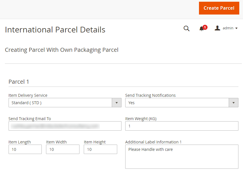 Parcel Created