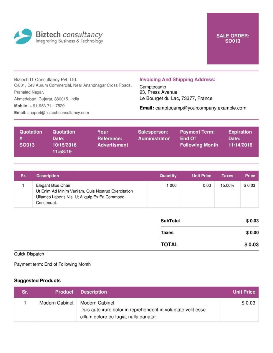 Professional Quotation Order Report Template