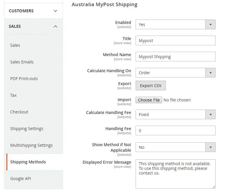 Shipping Method Configuration