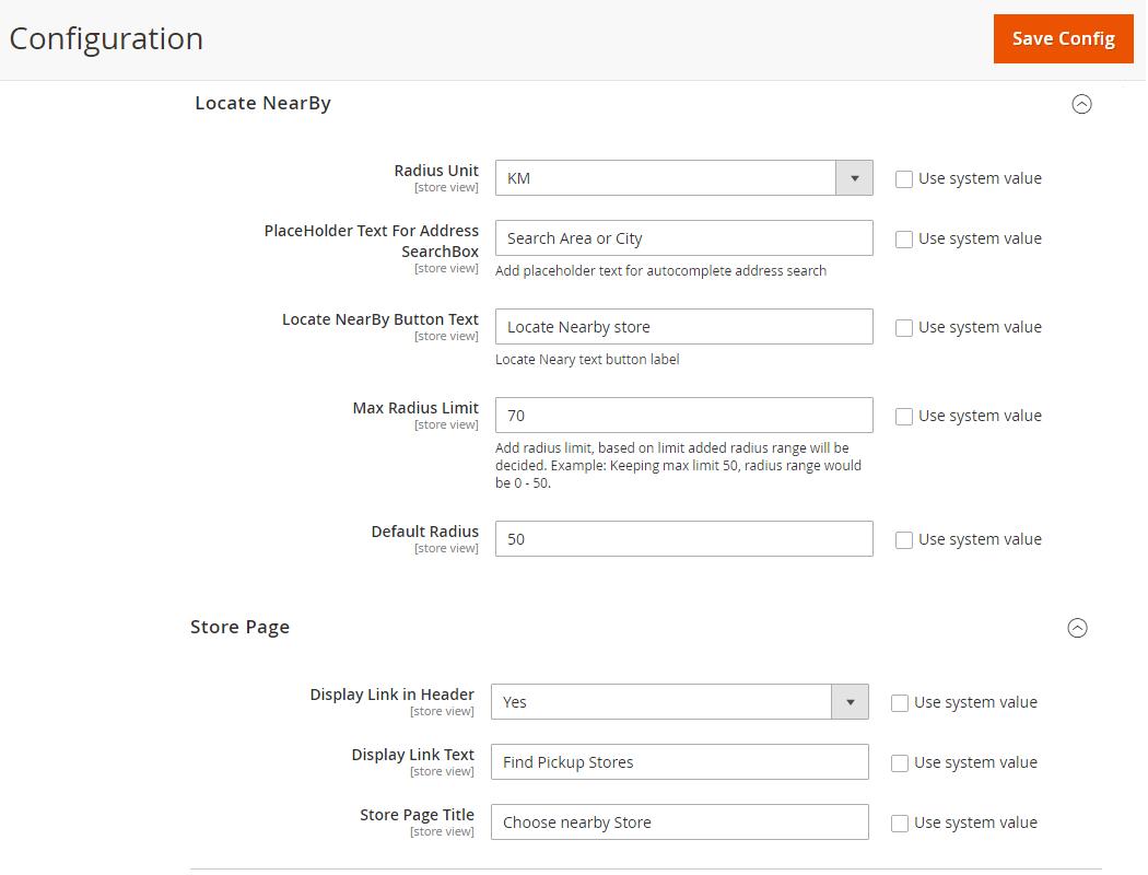 Store Configurations