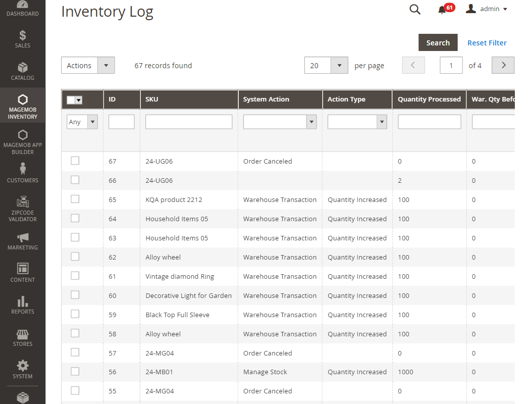 Inventory Log & Reports