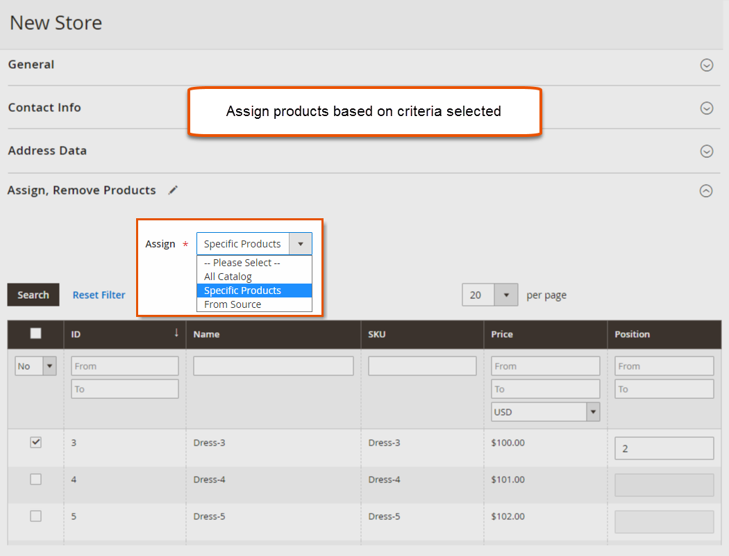 Assign Products to Store
