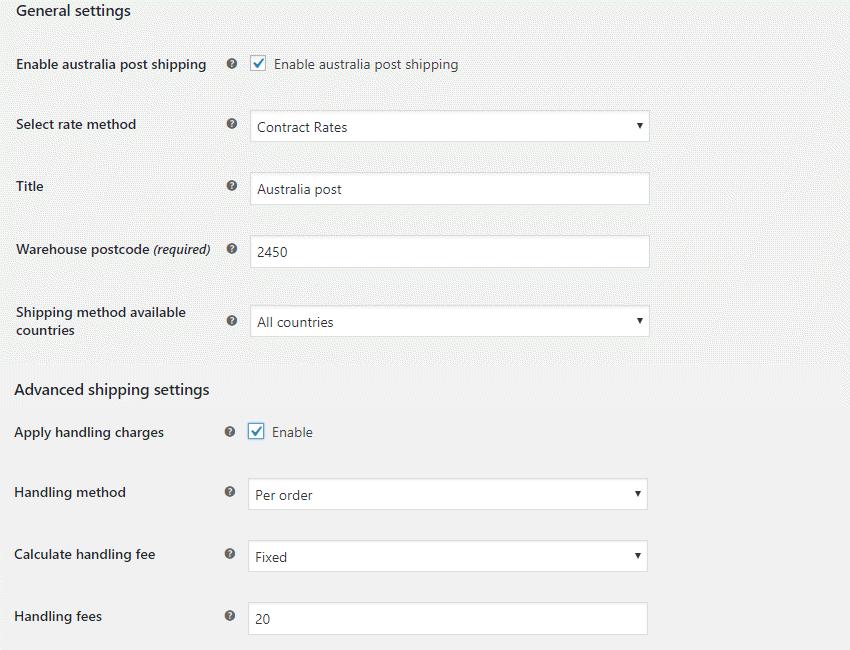Australia Post Configurations