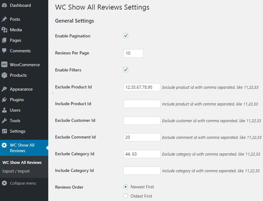 Customizing Options