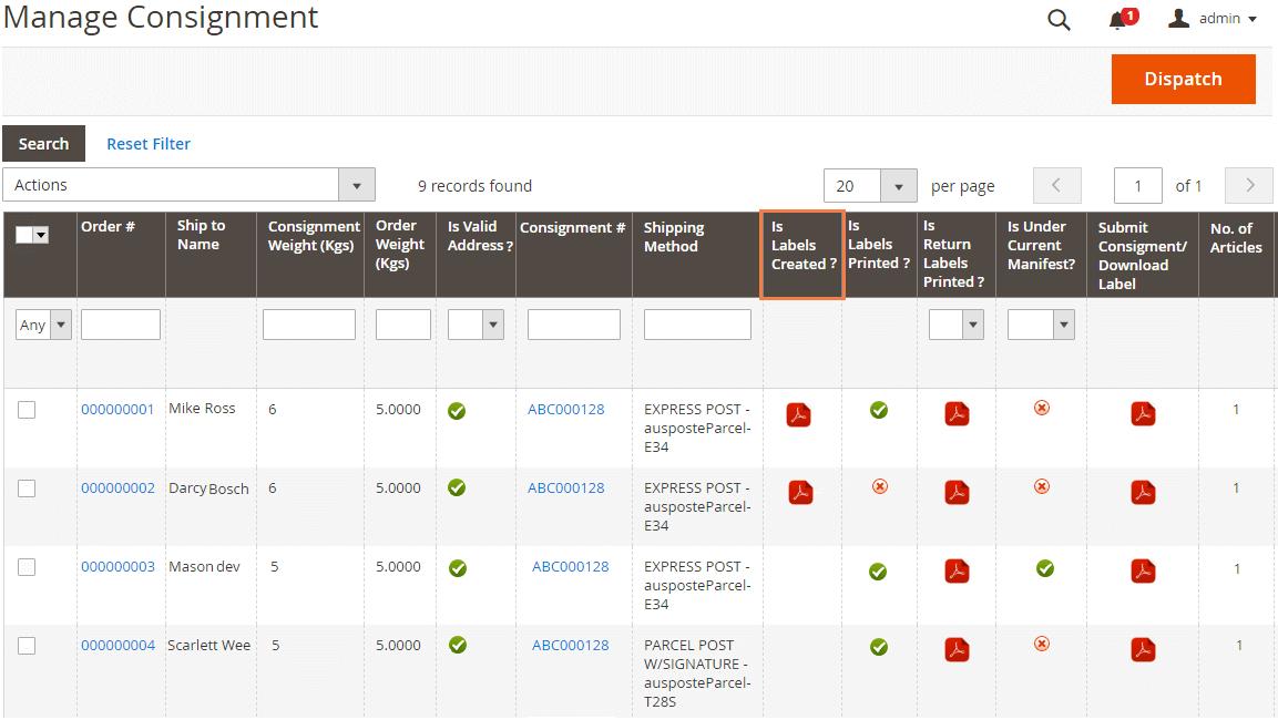 Generate Parcel Send Labels