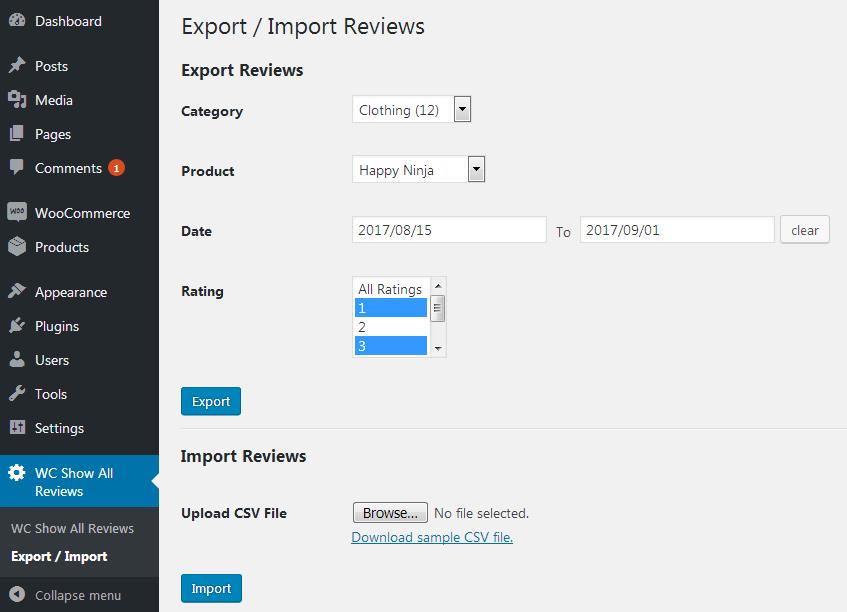 Export/Import Reviews