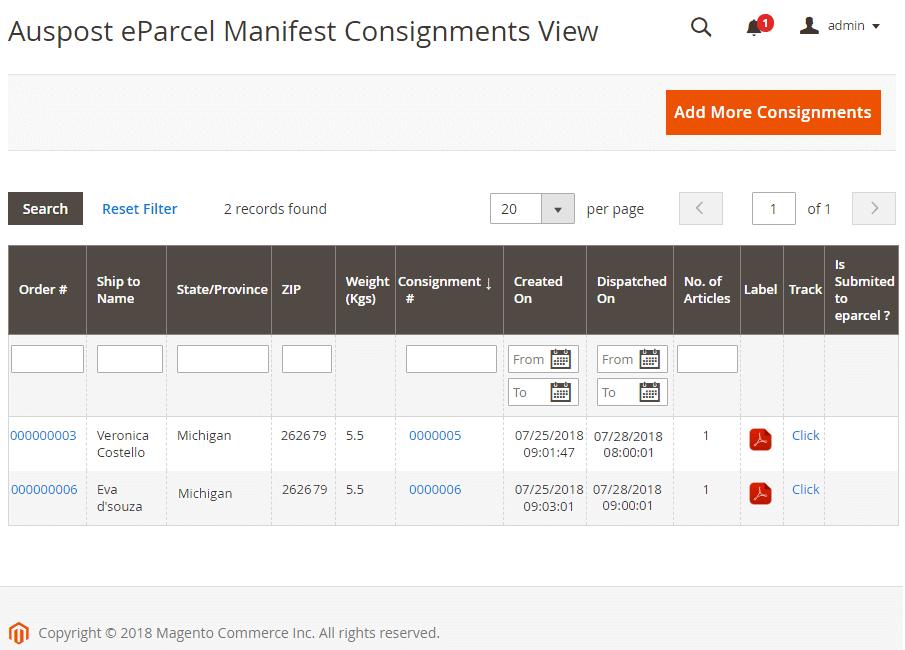 Manifest summary report