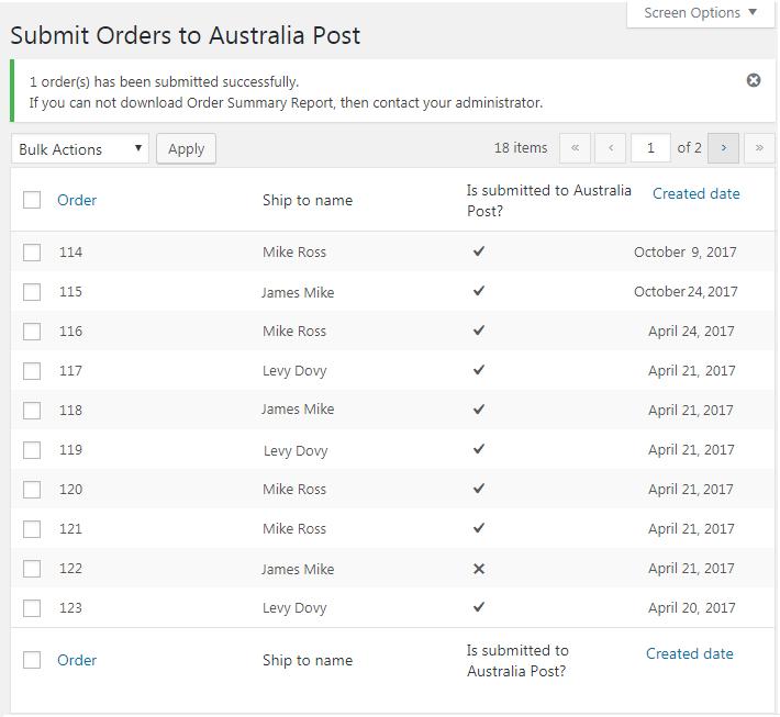 Submit Orders to Australia Post
