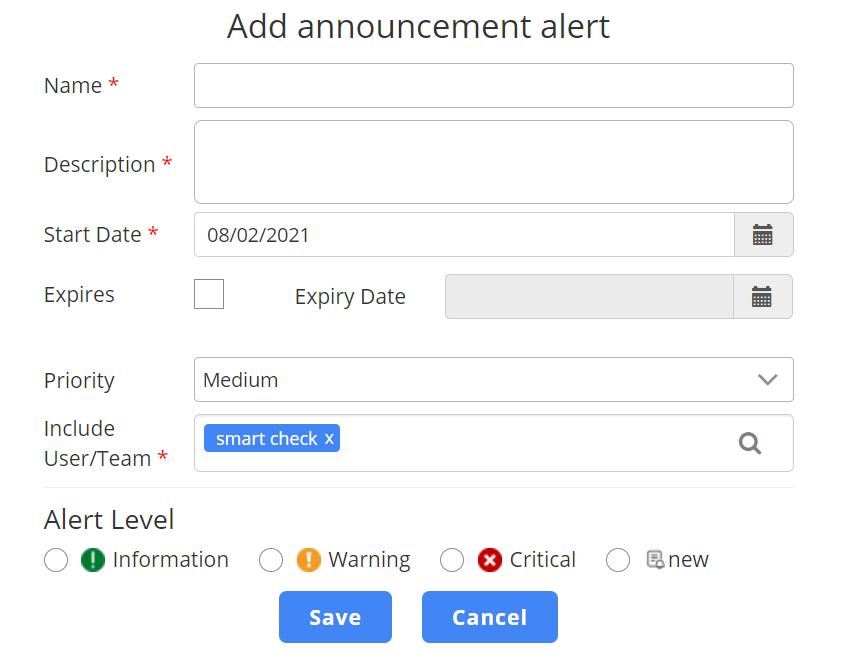 Announcement Type Alerts