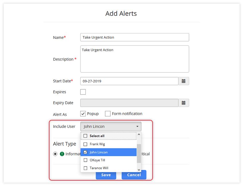 User Selection Alerts