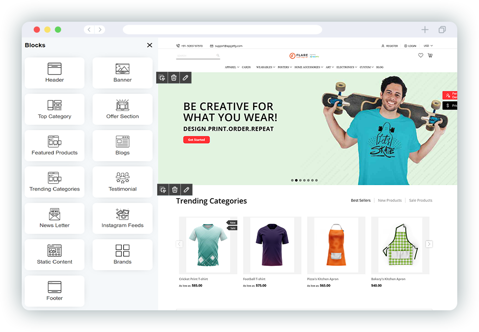 Predefined Magento 2 Themes and Custom Snippets