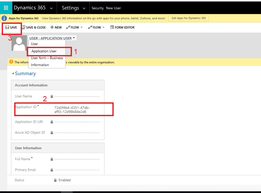Create User-Application ID